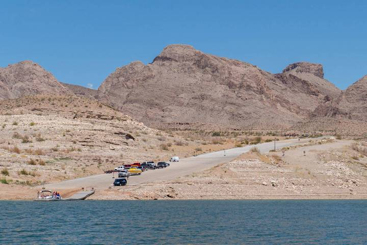 South Cove boat launch ramp, near the eastern end of Lake Mead National Recreation Area, is see ...