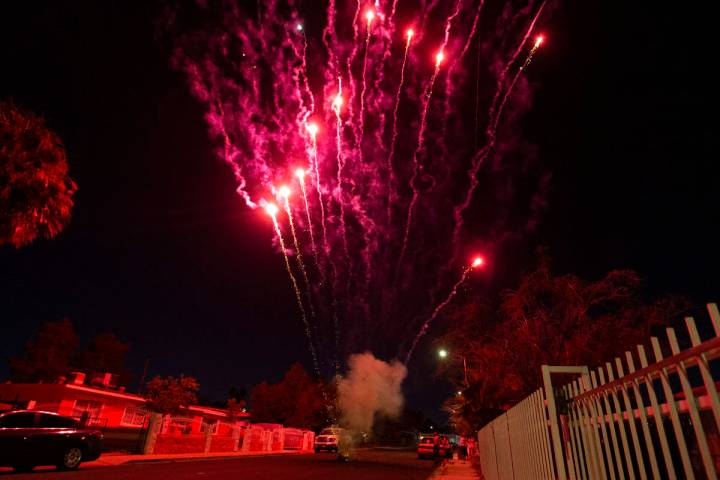 A group sets off illegal fireworks in celebration of Independence Day on Saturday, July 4, 2020 ...