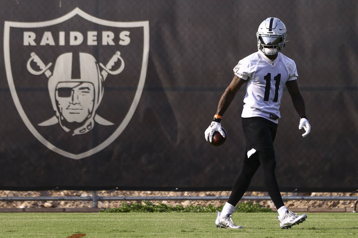 Raiders wide receiver Henry Ruggs III trains during an NFL football minicamp at Raiders headqua ...