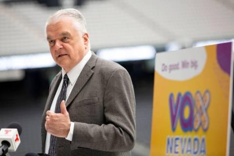 "Gov. Steve Sisolak announces a COVID-19 vaccine incentive program, ""Vax Nevada Days,"" in the Tw ..."
