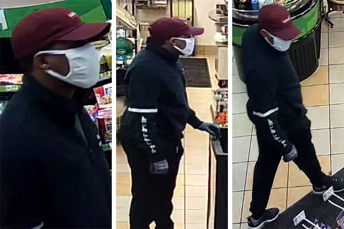 Police are seeking this man in connection to an armed robbery committed Thursday, March 11, 202 ...