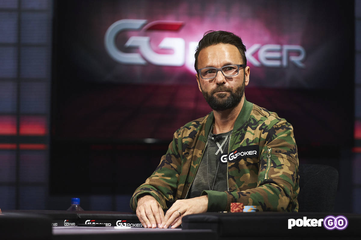 """Daniel Negreanu plays in the second round of his """"High Stakes Duel"""" with Daniel Negreanu at the ..."""