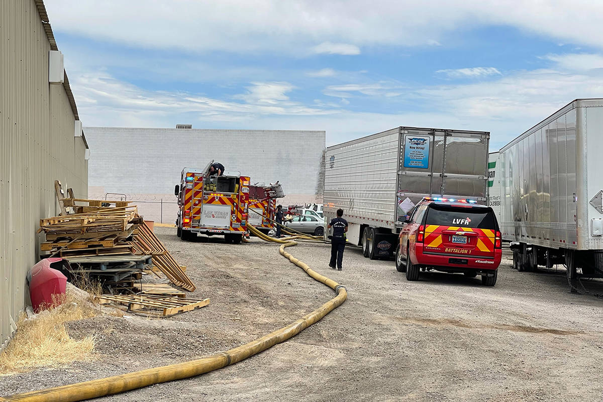 Crews battle a fire Tuesday, June 22, 2021, off West Owens Avenue in Las Vegas. (K.M. Cannon/La ...