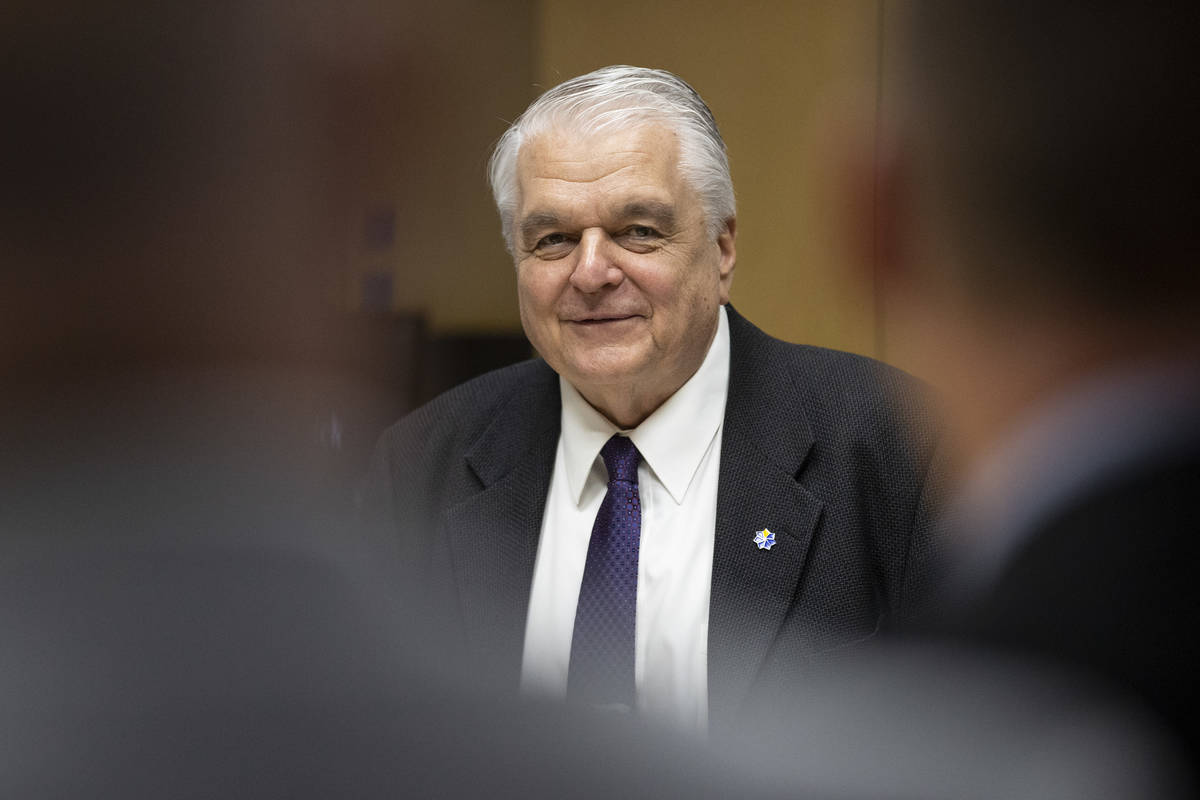 Nevada Gov. Steve Sisolak participates during a round table discussion on the American Jobs Pla ...