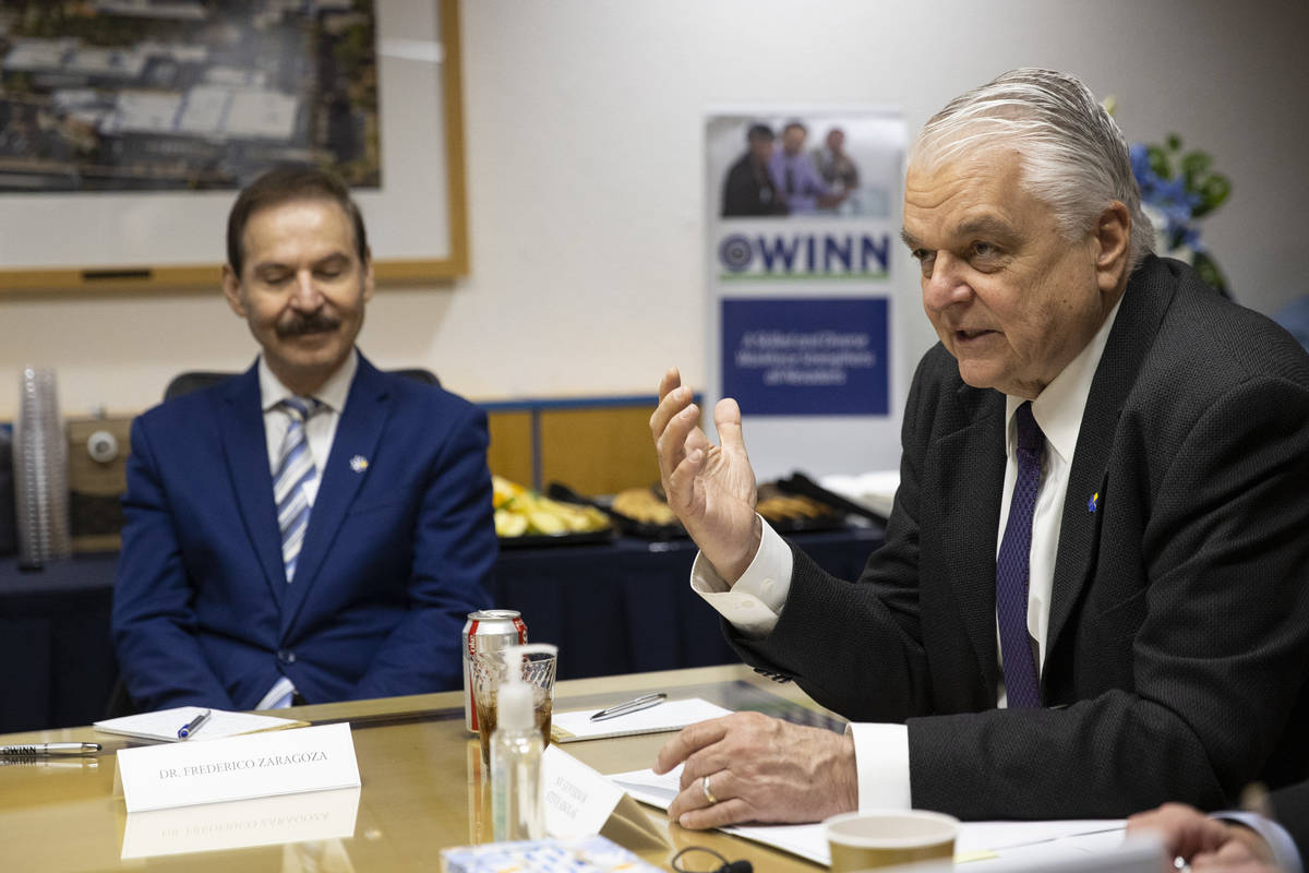 Nevada Gov. Steve Sisolak speaks during a round table discussion on the American Jobs Plan with ...