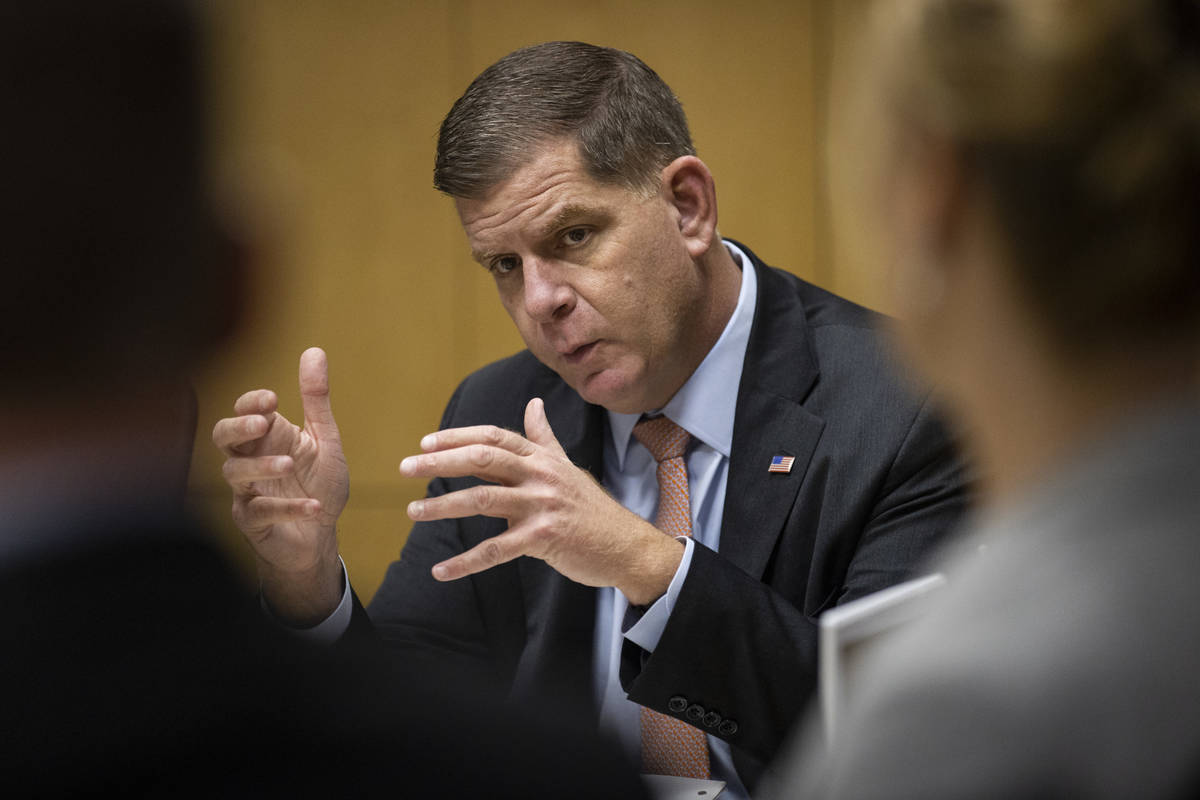 U.S. Labor Secretary Marty Walsh speaks during a round table discussion on the American Jobs Pl ...