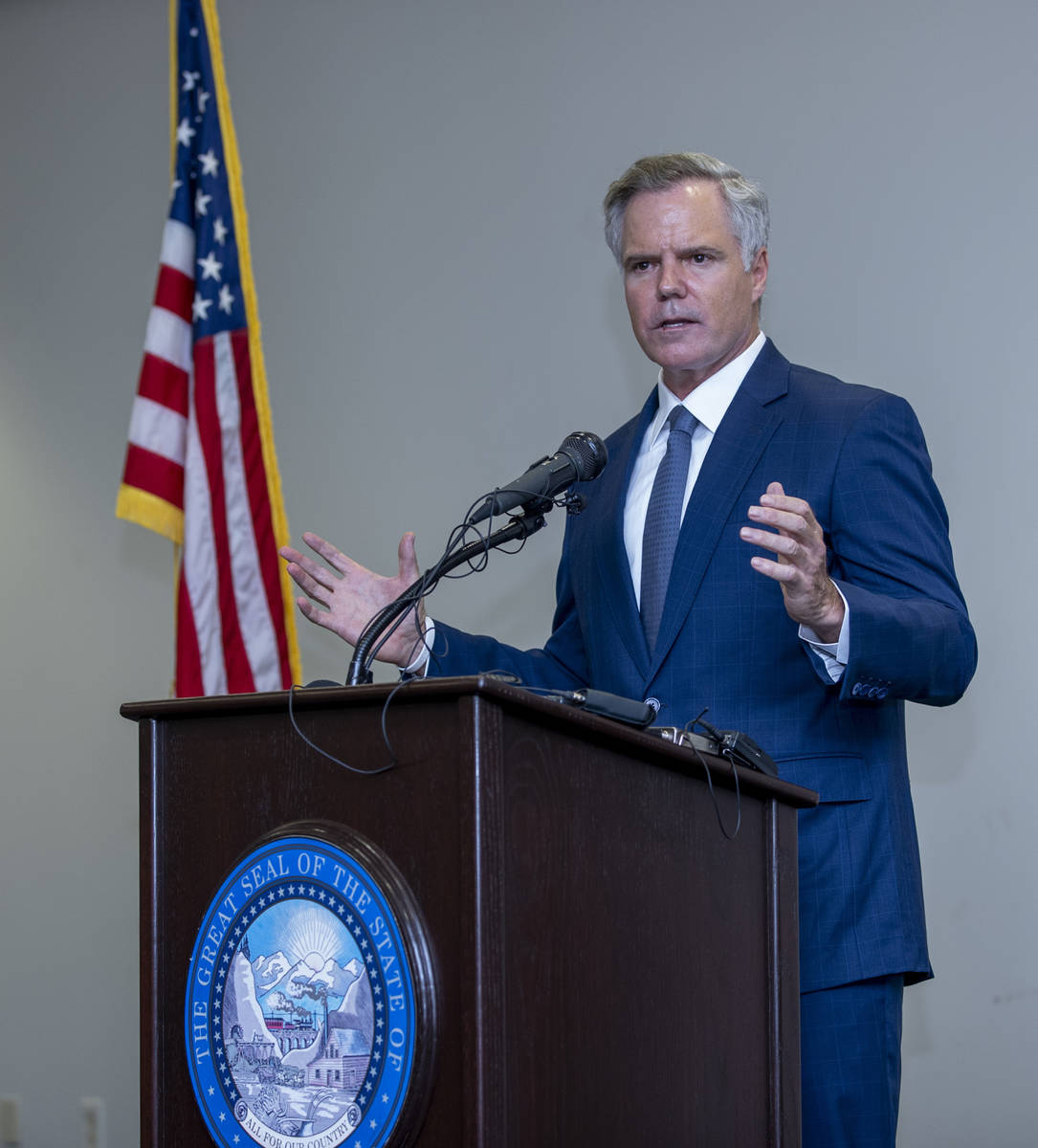 The Nevada COVID-19 Response, Relief and Recovery Task Force Chairman Jim Murren speaks during ...