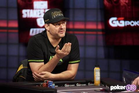 """Phil Hellmuth plays in the third round of his """"High Stakes Duel"""" with Daniel Negreanu on Wednes ..."""