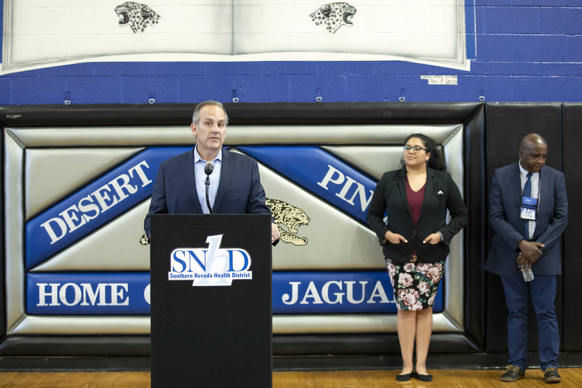 FILE--Clark County School District superintendent Jesus Jara speaks to the press before a South ...