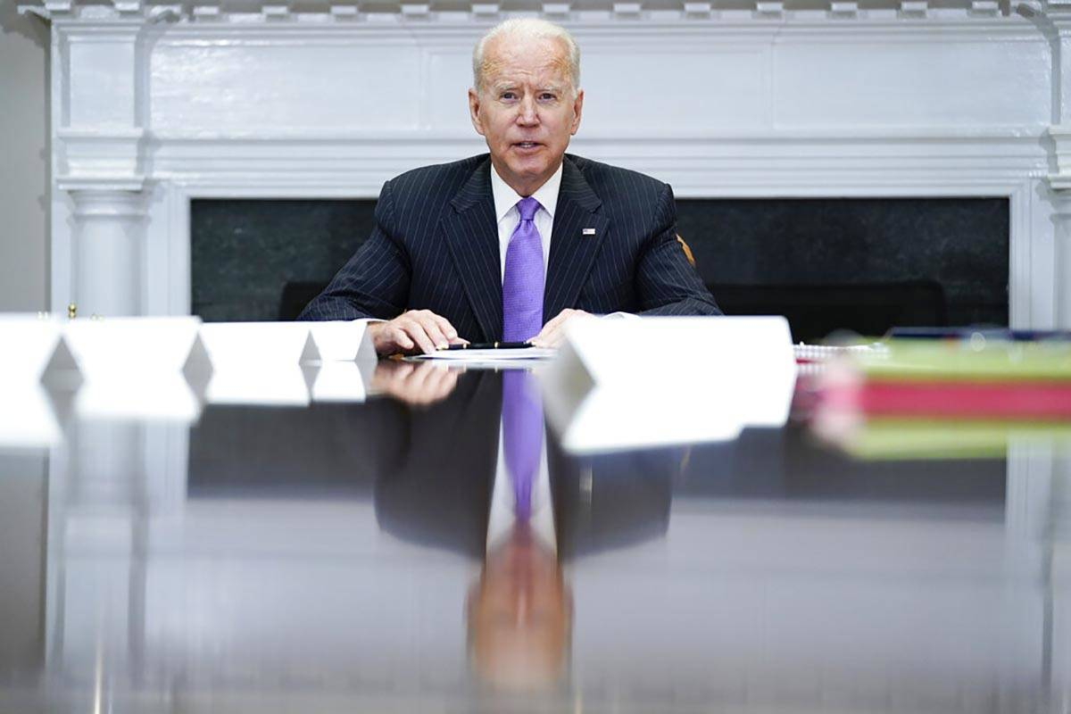 President Joe Biden speaks during a meeting with FEMA Administrator Deanne Criswell and Homelan ...