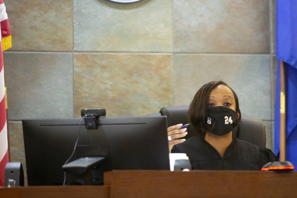 District Judge Tierra Jones presides over a court hearing for Sierra Halseth and Aaron Guerrero ...