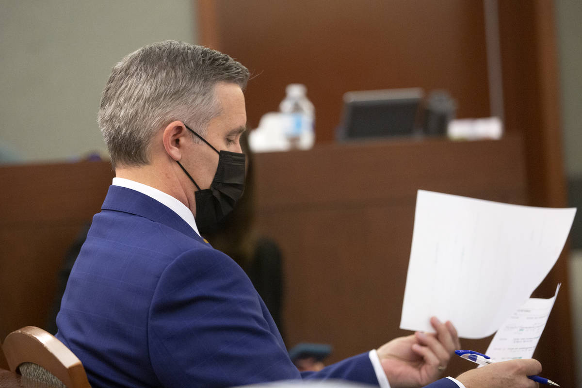 Prosecutor Giancarlo Pesci reviews notes during a court hearing for Sierra Halseth and Aaron Gu ...