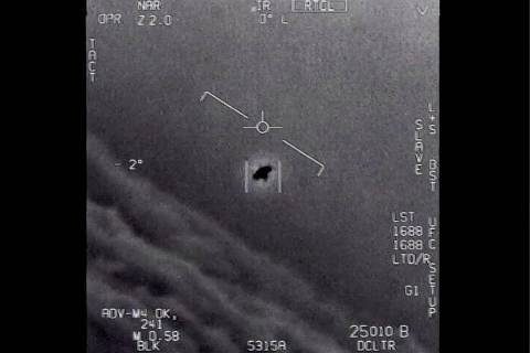 The image from video provided by the Department of Defense labelled Gimbal, from 2015, an unexp ...