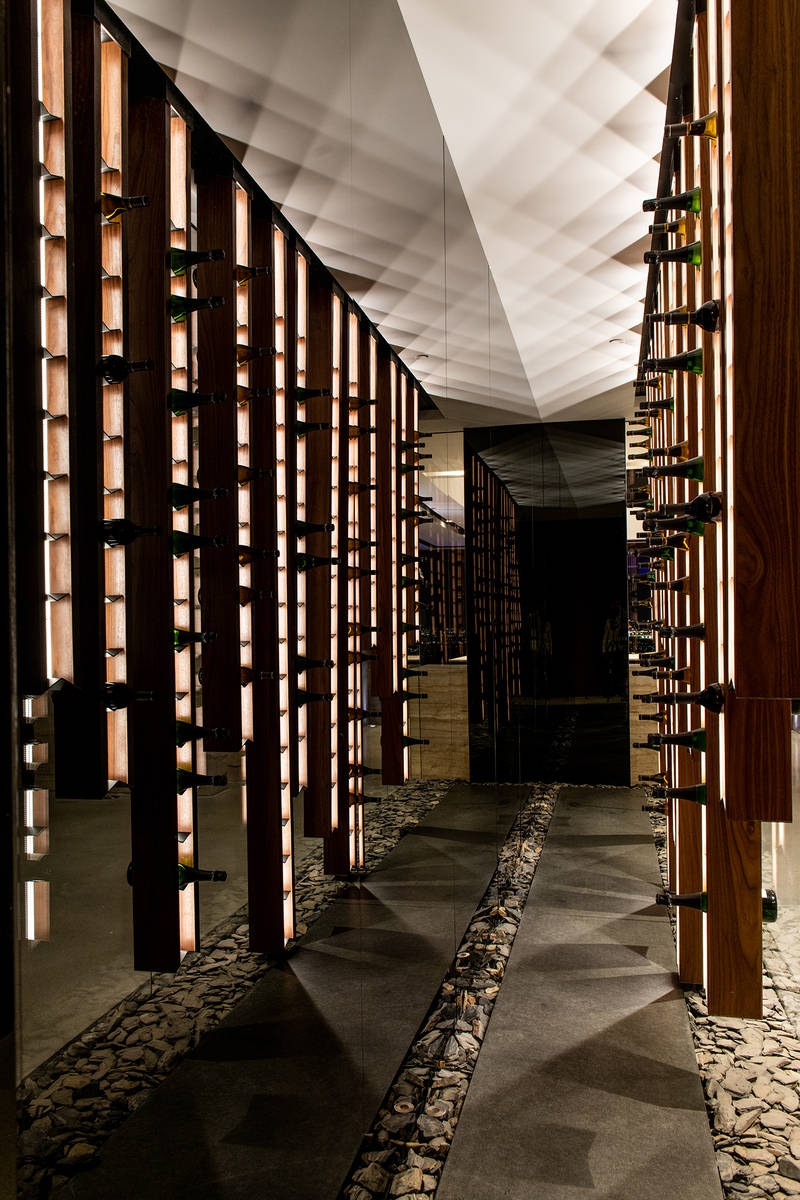 Wine storage area in luxury home in MacDonalds Highlands in Henderson (Blue Heron)
