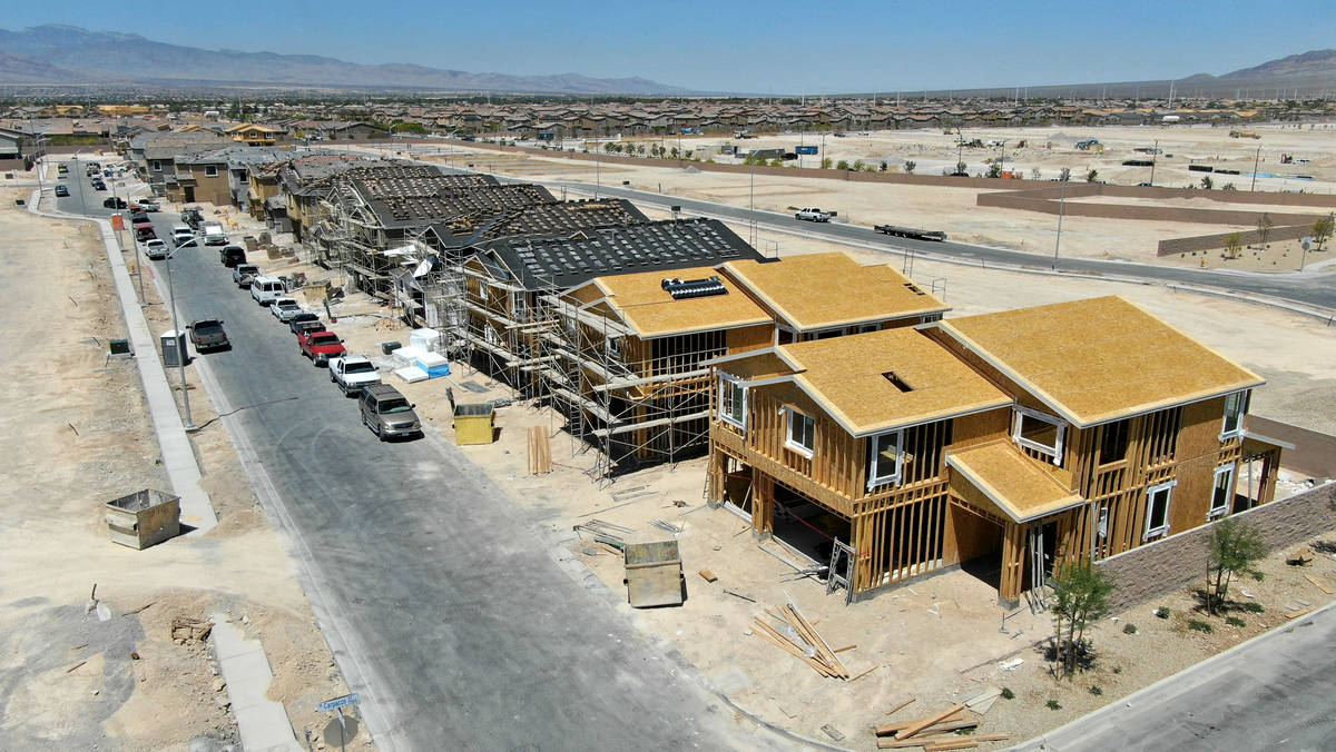 An aerial view of Orion Pointe, a housing development near North Decatur Boulevard and Farm Roa ...