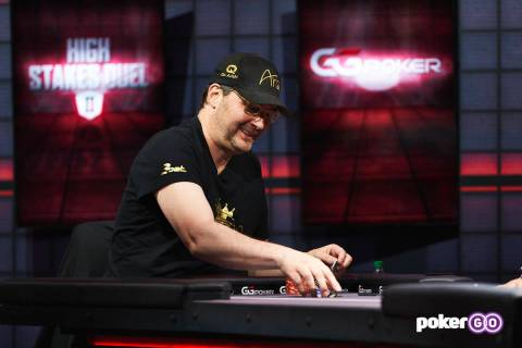 """Phil Hellmuth plays in the second round of his """"High Stakes Duel"""" with Daniel Negreanu at the P ..."""