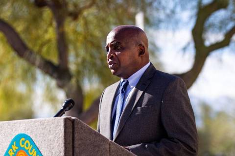 Dr. Fermin Leguen, district health officer with the Southern Nevada Health District, speaks at ...