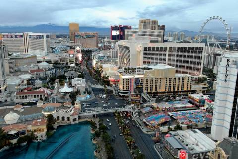 Aerial view of the Las Vegas Strip a year after the pandemic shutdown on Friday, March 12, 2021 ...