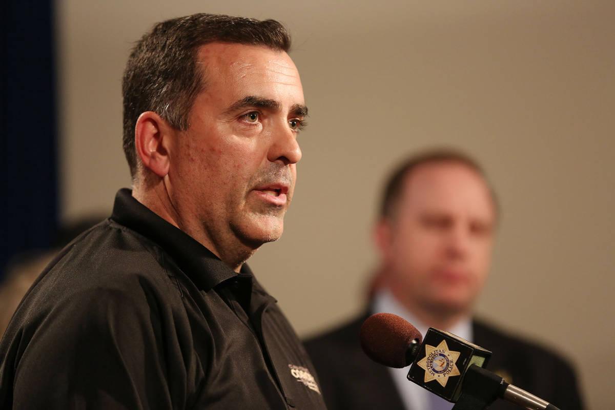 Clark County coroner John Fudenberg address the media during a briefing at Las Vegas Metropolit ...