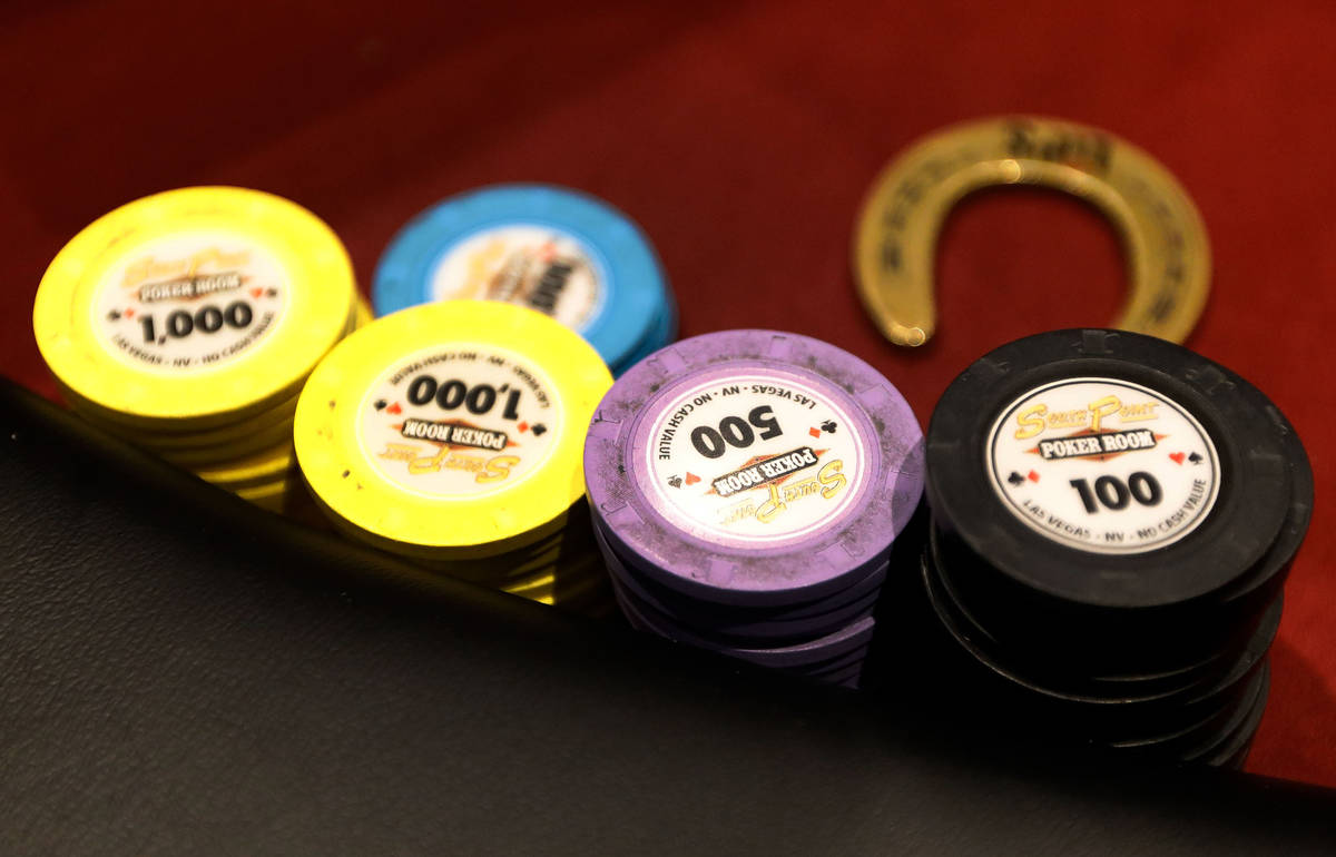 Chips are seen on a poker table as women play in $175 No-Limit Hold'em Ladies tournament during ...