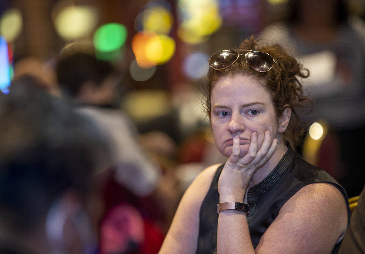 Player Jessica Welman looks with concern as she competes in the $350 buy-in Ladies Internationa ...