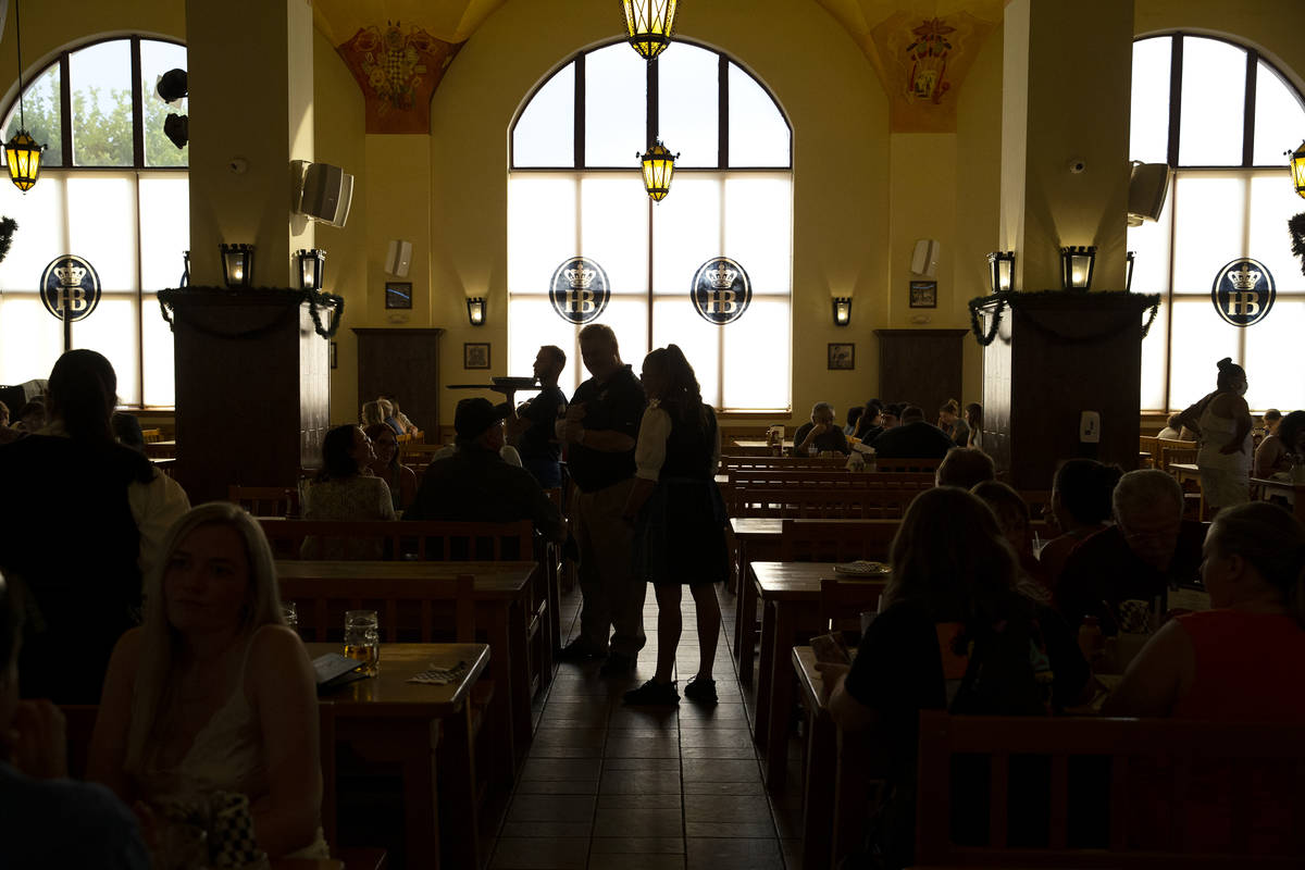 The dining room at Hofbrauhaus on Thursday, June 17, 2021, in Las Vegas. As diners return as CO ...