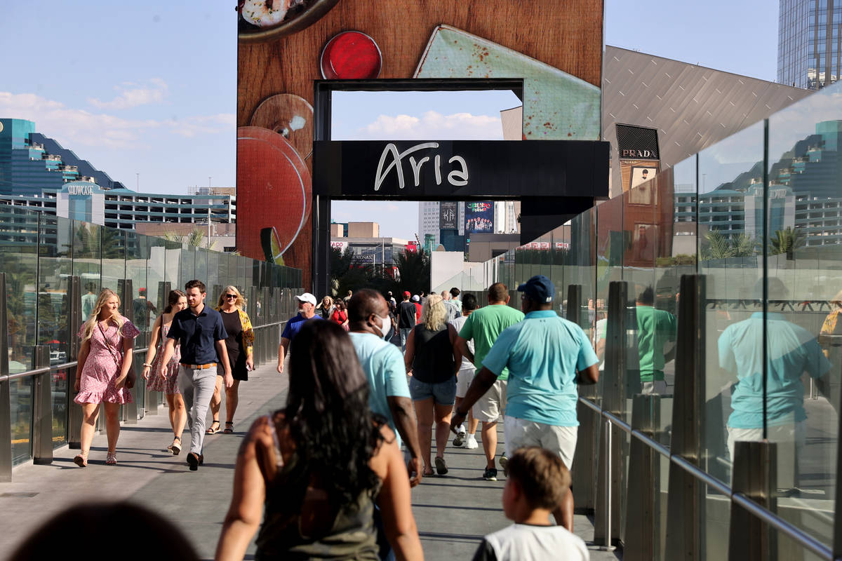 A pedestrian bridge to Aria in Las Vegas Thursday, July, 2021. (K.M. Cannon/Las Vegas Review-Jo ...