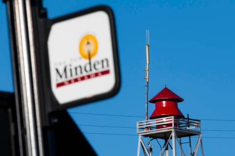 A siren in Minden pictured on May 11, 2021. (Colton Lochhead/Las Vegas Review-Journal)