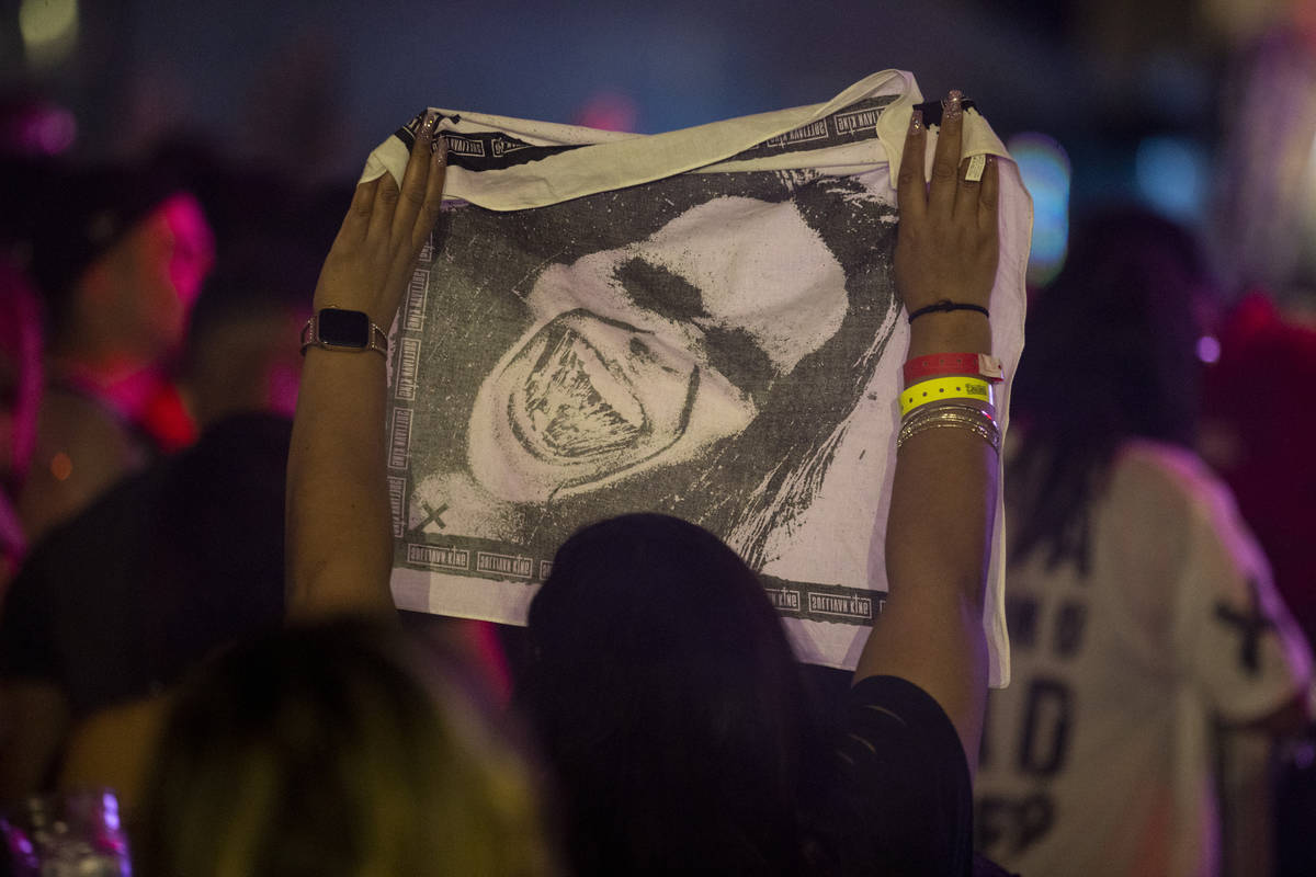 People listen to a performance by DJ Sullivan King at the Downtown Las Vegas Events Center in L ...