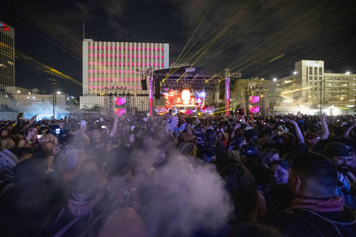 Excision performs at the Downtown Las Vegas Events Center in Las Vegas, Saturday, July 3, 2021. ...