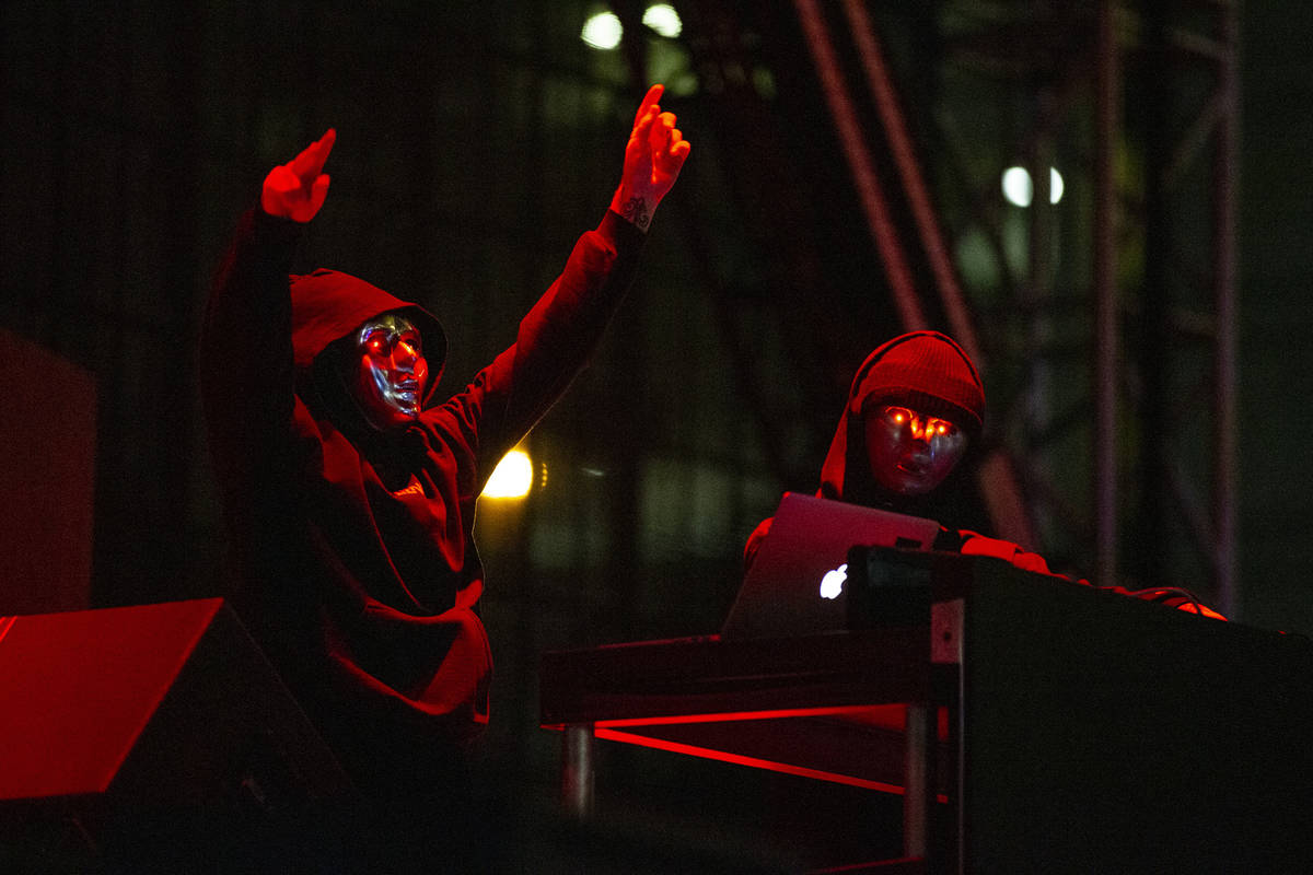 ATLiens perform at the Downtown Las Vegas Events Center in Las Vegas, Friday, July 2, 2021. (Er ...