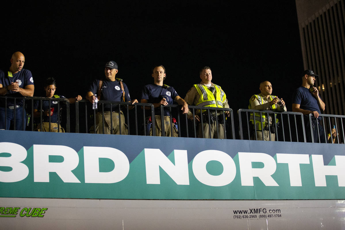 First responders keep watch during a concert at the Downtown Las Vegas Events Center in Las Veg ...