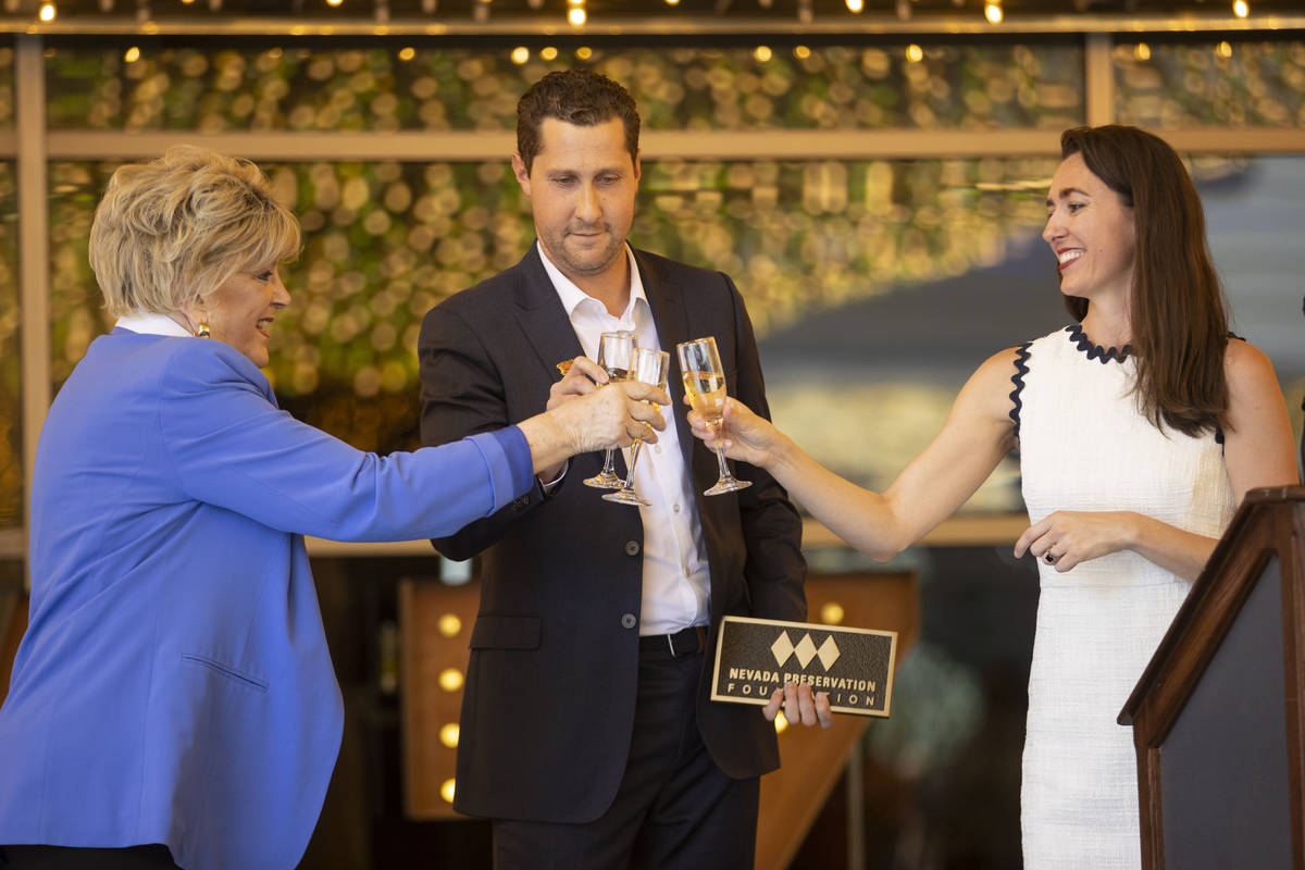 Las Vegas Mayor Carolyn Goodman, from left, Plaza hotel-casino CEO Jonathan Jossel, and Cynthia ...