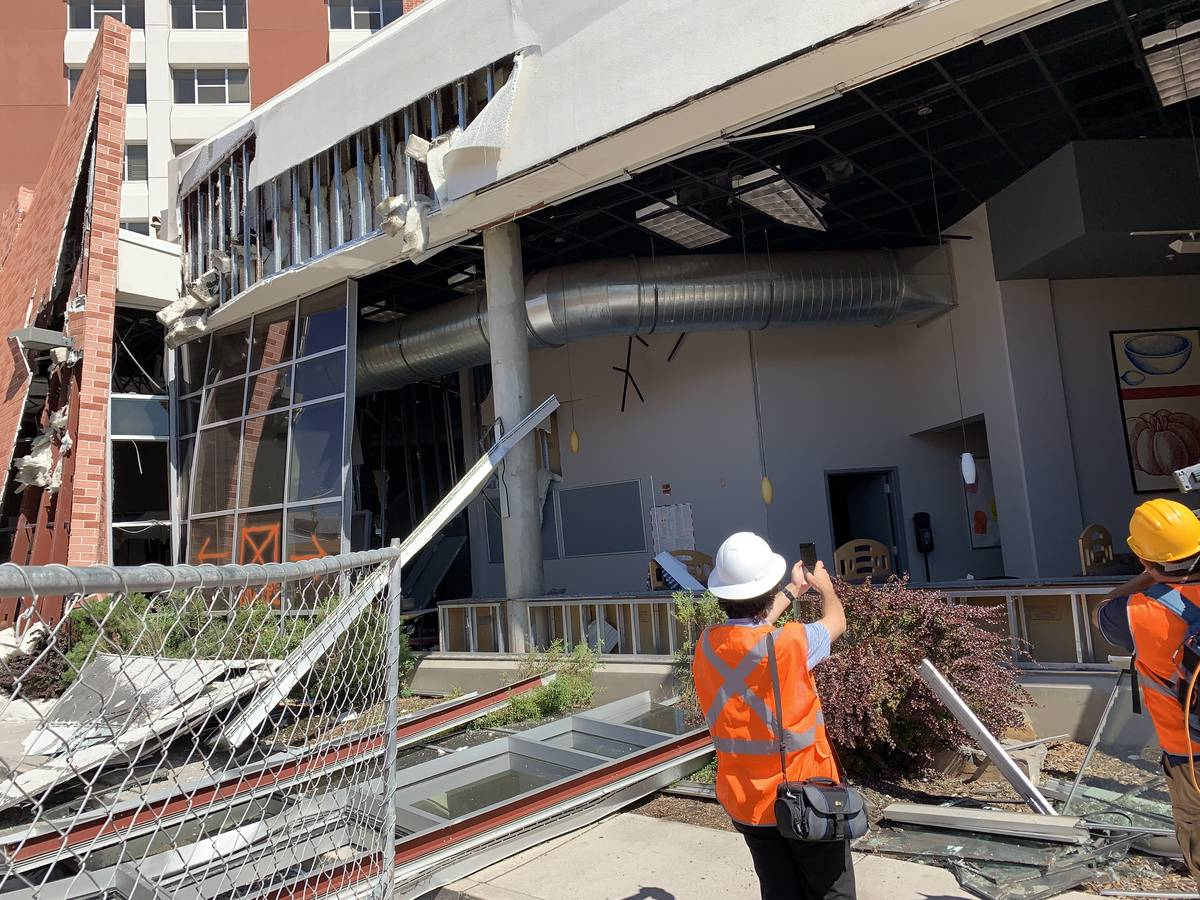 The exterior of Argenta Hall at University of Nevada, Reno, following the explosions on July 5, ...