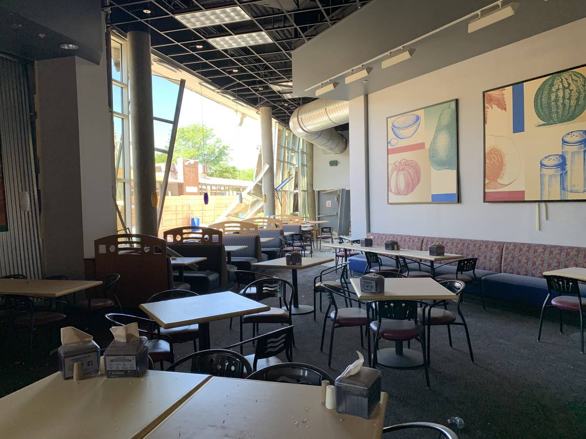 The shattered cafeteria of Argenta Hall at University of Nevada, Reno, following the July 2019 ...