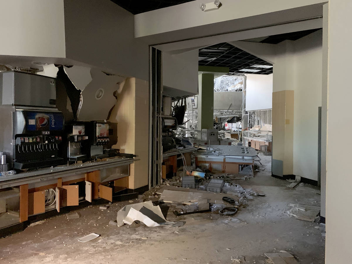 Looking toward the site of the explosion that damaged Argenta Hall at University of Nevada, Ren ...