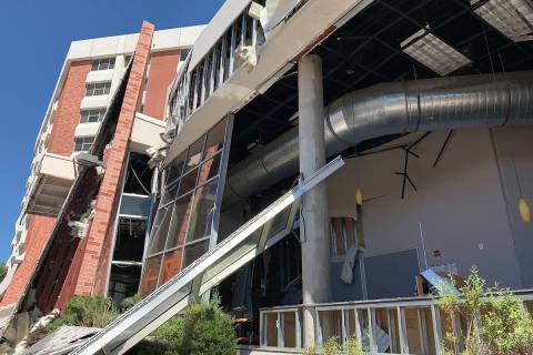 The exterior of Argenta Hall at University of Nevada, Reno, following the July 5, 2019, explosi ...