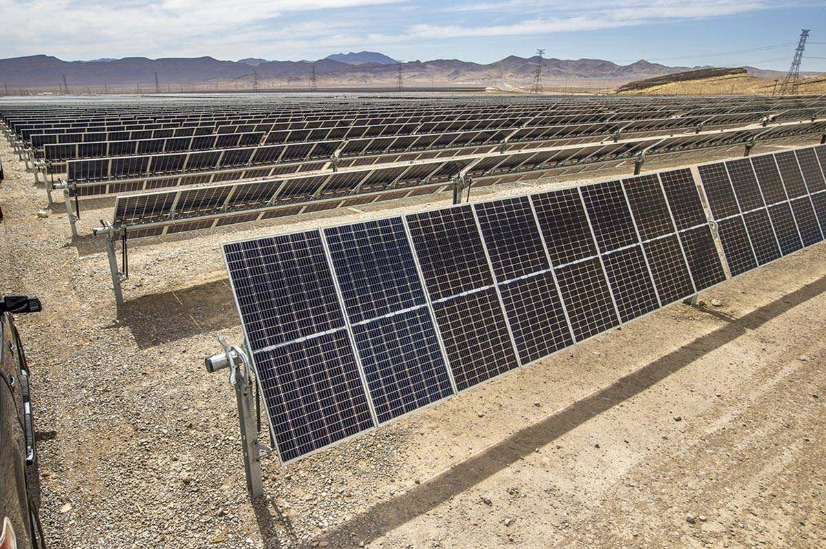 Some of the solar panels from MGM's Mega Solar Array located on 640 acres in the desert which h ...