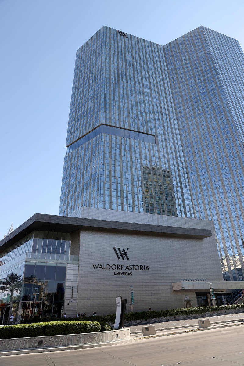 Waldorf Astoria located within CityCenter, on the Strip in Las Vegas Thursday, July 2, 2021. (K ...