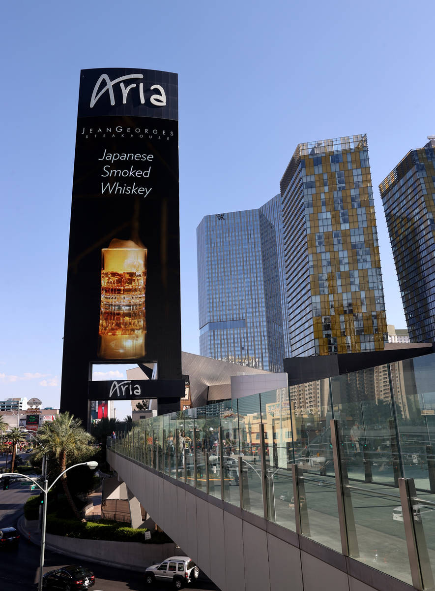 A pedestrian bridge to Aria, Waldorf Astoria and Veer Towers condominiums located within CityCe ...