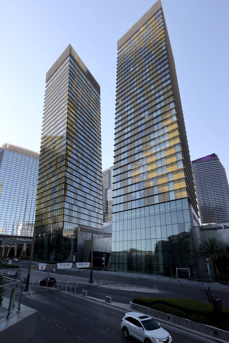 Veer Towers condominiums located within CityCenter, on the Strip in Las Vegas Thursday, July 2, ...