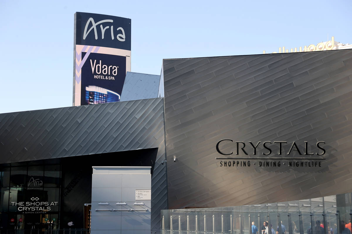 Shops at Crystals located within CityCenter, on the Strip in Las Vegas Thursday, July 2, 2021. ...