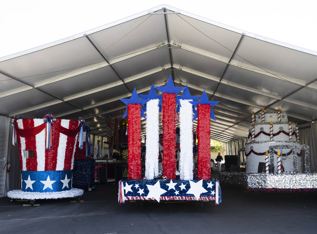 Decorated floats, Uncle Sam Hat, left, Celebration Music America!, and Viva Las Vegas, right, a ...