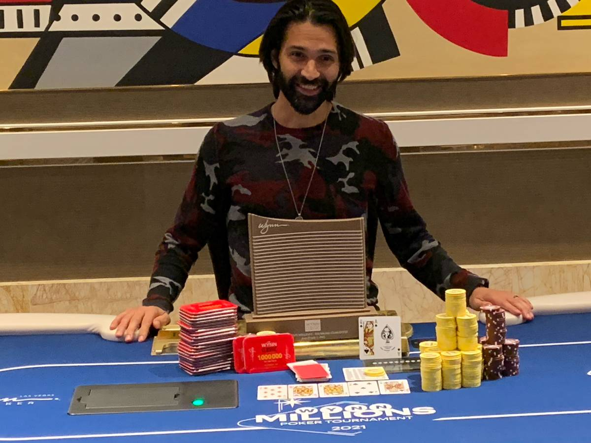 Andrew Moreno after winning the Wynn Millions on Saturday, July 3, 2021, at the Wynn poker room ...