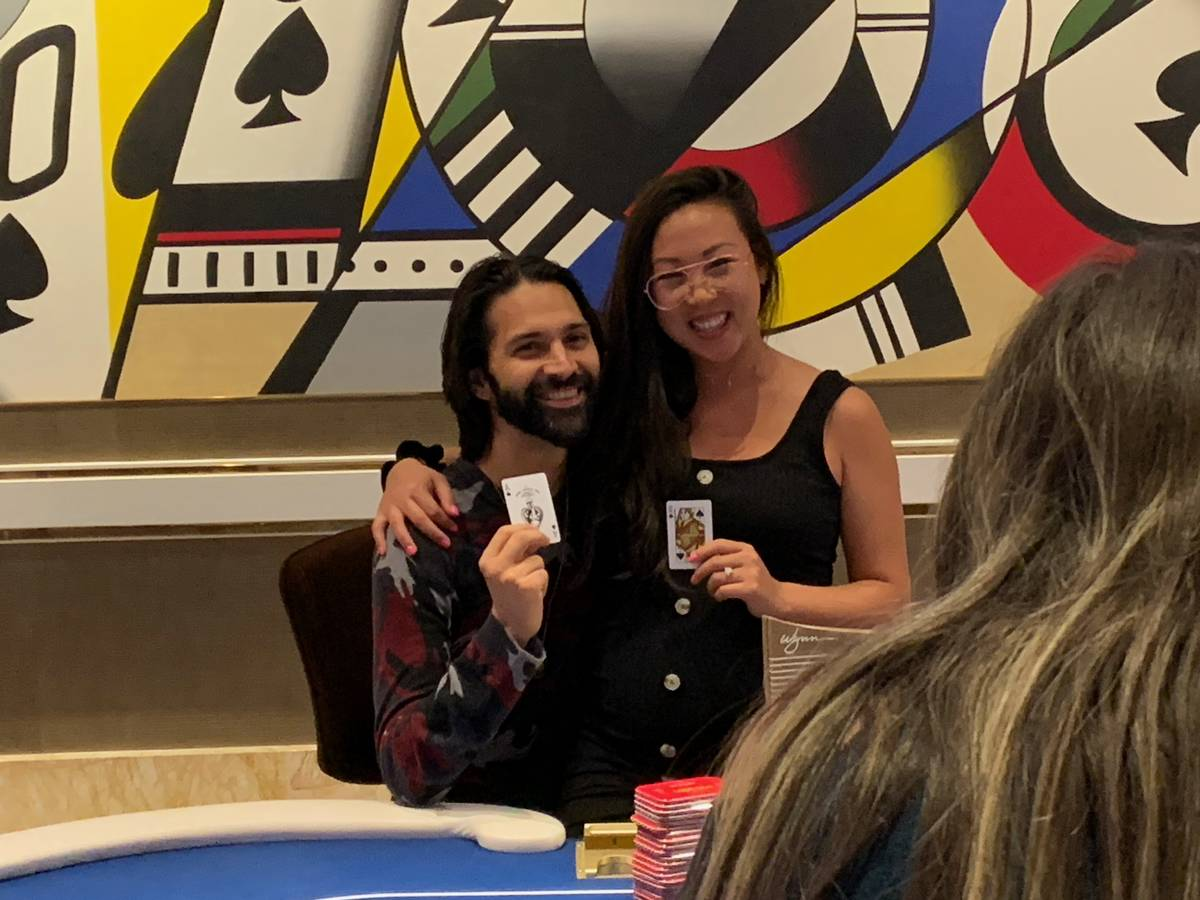 Andrew Moreno with his wife, Kristy, after winning the Wynn Millions on Saturday, July 3, 2021, ...