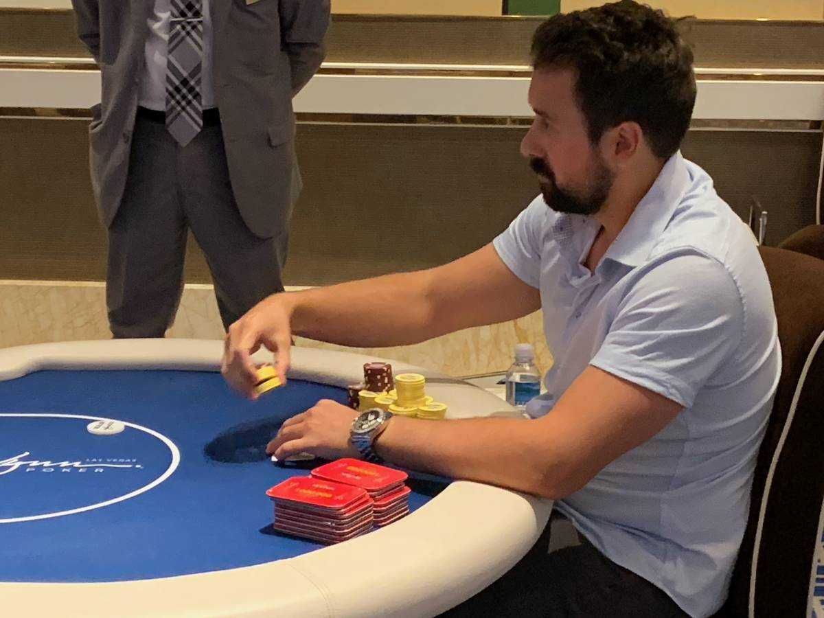 Clayton Maguire plays at the final table of the Wynn Millions on Saturday, July 3, 2021, at the ...