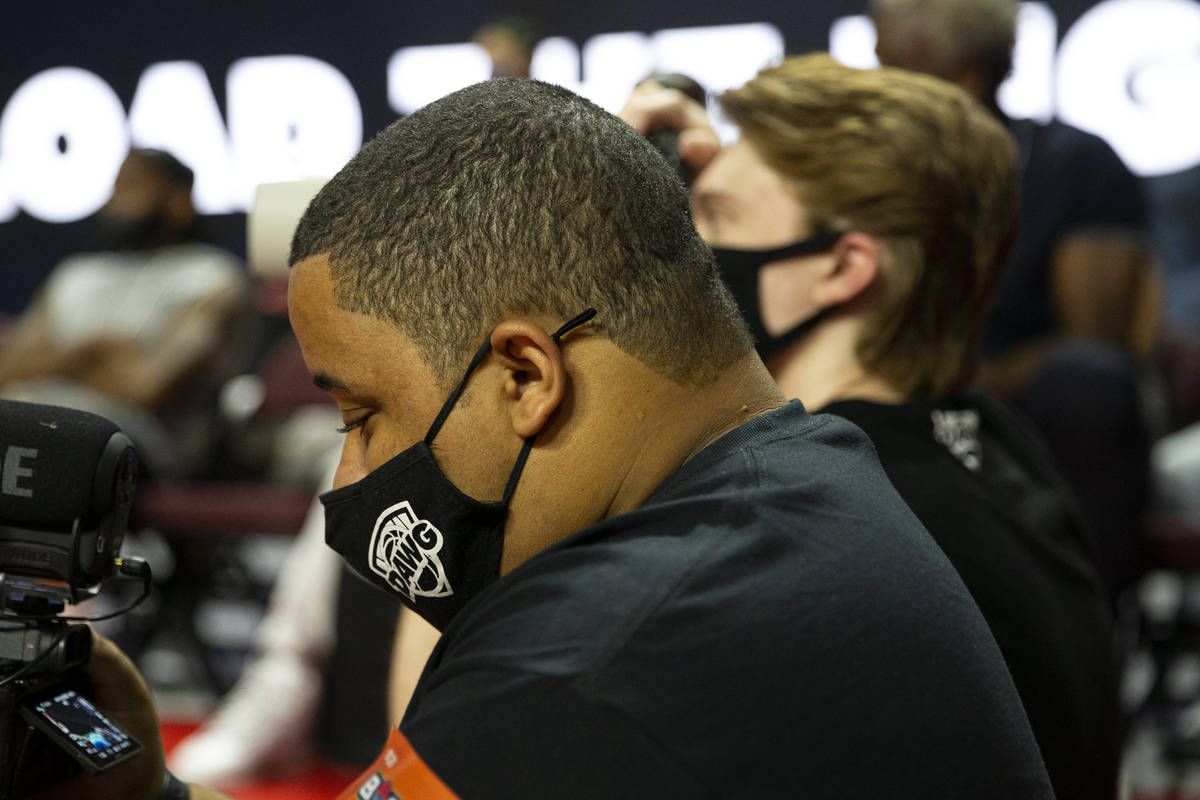 Malik Ricks, BallDawgs director of content, films from the sidelines during a BIG3 basketball l ...