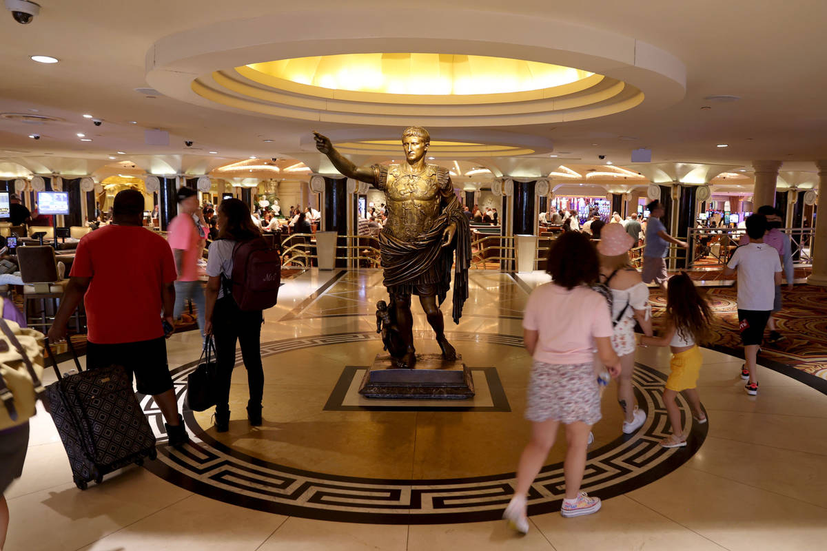 An entry at Caesars Palace on the Las Vegas Strip Tuesday, June 6, 2021. Caesars Entertainment ...