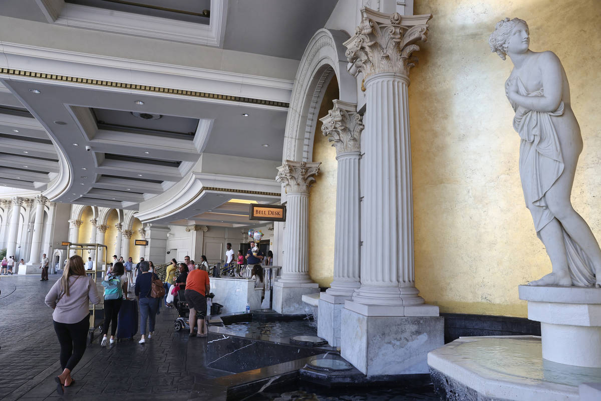 The porte-cochre at Caesars Palace on the Las Vegas Strip Tuesday, June 6, 2021. Caesars ...