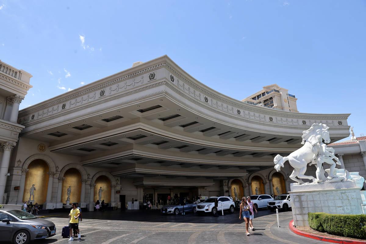 The porte-cochère at Caesars Palace on the Las Vegas Strip Tuesday, June 6, 2021. Caesars ...